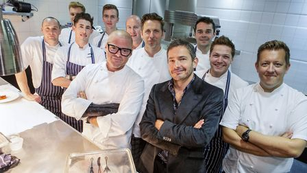 Heston Blumenthal and Giles Coren with chefs in the kitchen for Heston's Marvellous Menu: Back to th