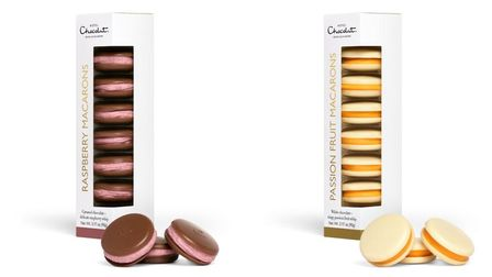 Hotel Chocolat macarons in raspberry and passion fruit flavours, £8.50 each