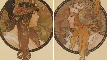 Two posters designed by Alphonse Mucha as decorative panels form a pair and are titled Têtes Byzanti