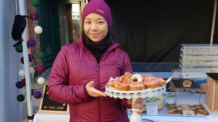 Céline on the Cocolico Pâtisserie market stall