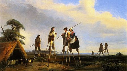 An 1830 painting of shepherds in Landes on stilts by Jean-Louis Gintrac