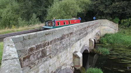 The aqueduct taking the Staffs & Worcs Canal over the River Sow (photo: Derek Pratt)