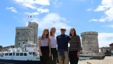 Mick and Carole Williams with their daughters Anya and Lucie in La Rochelle