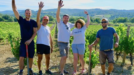 Katie, Jean Marc and team working in the viineyards (c) Ed Bussell