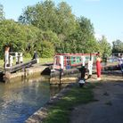 Some of the first holiday hirers enjoying the Grand Union Canal at Stoke Bruerne in early July (phot