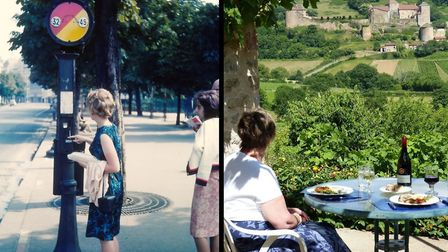 Left: Marian Bister on her first trip to Paris in 1964; right: over 50 years later in Burgundy. Pic: