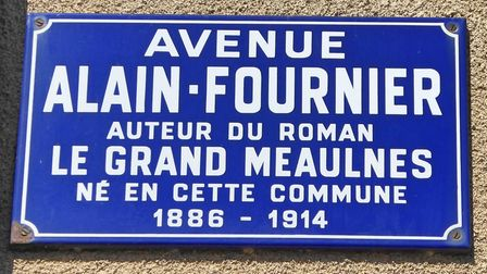 A sign highlighting the author of Le Grand Meaulnes, Alain Fournier. Pic: Alison Hughes