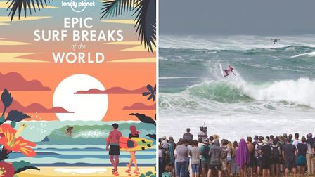 Epic Surf Breaks of the World by Lonely Planet and, right, Australian pro Julian Wilson competing at