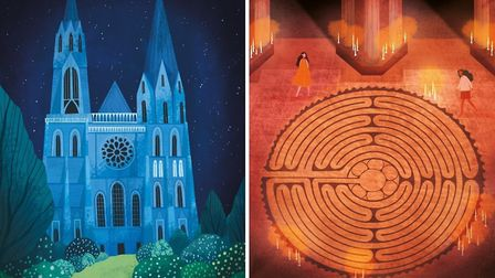 The labyrinth at Chartres Cathedral. Illustrations © Amy Grimes