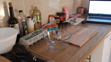 My kitchen set up ready for the baking class