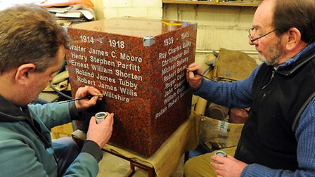 (L TO R) Stonemasons Tony Harvey and Colin Smith painting the names on to the new Bradwell war memo
