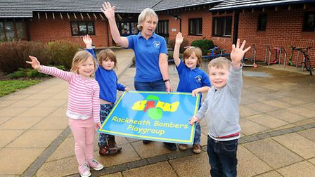 Rackheath Bombers Playgroup celebrate moving into their new home at Rackheath Primary School. Head s