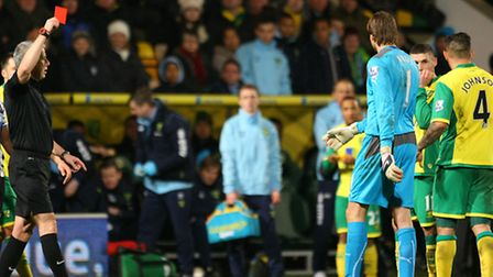 Norwich City midfielder Bradley Johnson is red carded in Tuesday's 0-0 Premier League draw against N