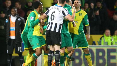 Chris Hughton defended Norwich City midfielder Bradley Johnson after he was red-carded along with Ne