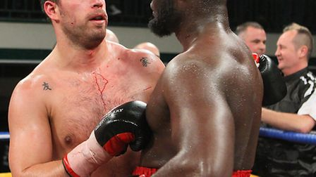 Sam Sexton and Larry Olubamiwo at the end of their fight at York Hall in January, 2012.