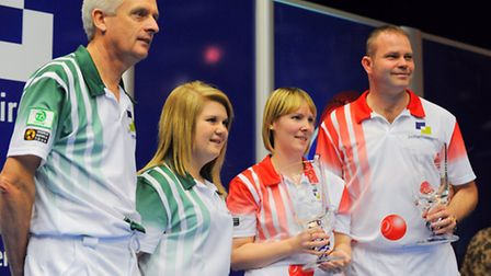 World Indoor Bowls Championships 2014 at the Potters Resort in Hopton. Paul Foster and Laura Thomas