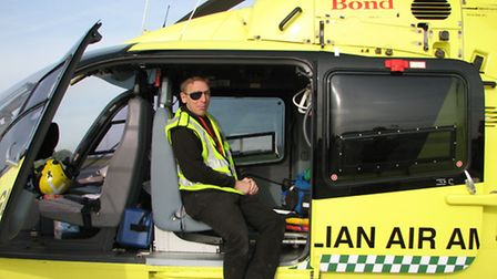 James Piercy thanks the East Anglian Air Ambulance