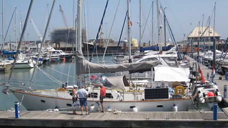 Preparing for the off, Magnetic Attraction at the RNSYC marina in Lowestoft before Mr and Mrs Pratt