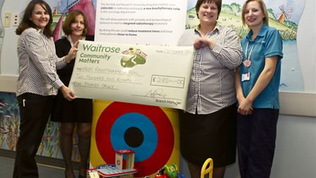 Melanie Spillman from Waitrose, Jenny Tomes, Head of Radiotherapy at NNUH, Sally West-Lindell from W