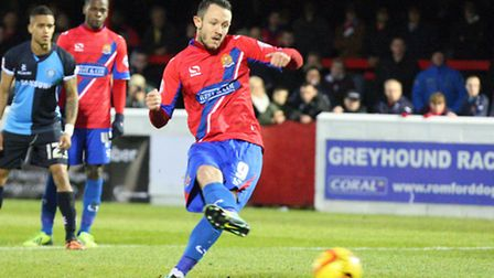 Rhys Murphy in action for Dagenham and Redbridge earlier this season. Picture: Dave Simpson/TGSPHOTO