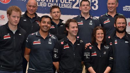 Prince Harry (left) with Team UK at the Walking With The Wounded South Pole Allied Challenge welcome