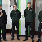 Caterham owner Tony Fernandes unveils his team's 2014 driver line-up, with (from left) new reserve d