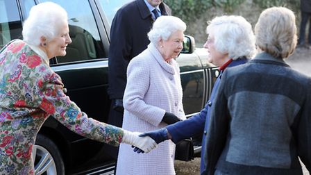 The Queen arrives at the WI meeting. Picture: Matthew Usher.