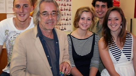 Roger Lloyd Pack working with young people from one of Sheringham Little Theatre's youth outreach pr