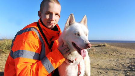 Thomas Marriott who has set up Bolt's Norfolk Rescue, a rehoming charity for huskies and German Shep