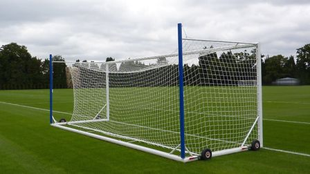 One of the portable goals supplied by Mark Harrod Ltd for Chelsea FC's training ground at Cobham in