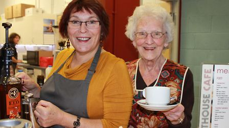 Lighthouse coffee bar volunteers Lorna McKale and Joy Irvine serving up hot drinks and chat in the n