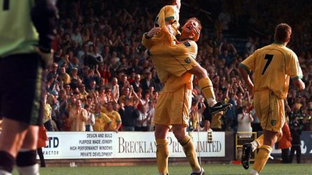 Iwan Roberts celebrates with Craig Bellamy after the latter scored against Birmingham City in 1998.