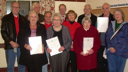 THANK YOU: Front from left: Jenny Wald, Shirley Meredith and Pat Beecroft with their certificates, p