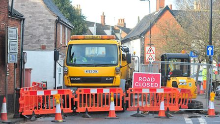 Work starts on the new Bungay One-Way system.