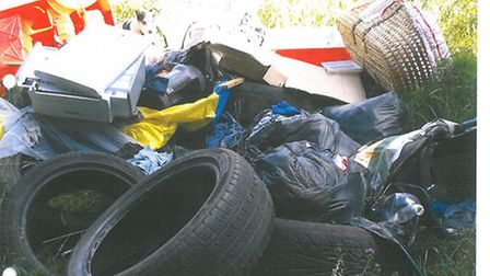 Rubbish tipped by Nicholas Stratton, from Blo Norton, on Forestry Commission land