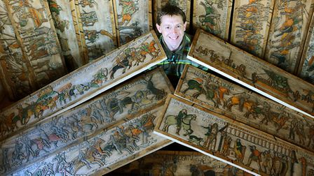 Jason Welch has carved a 230ft version of the Bayeux Tapestry. Picture: Ian Burt