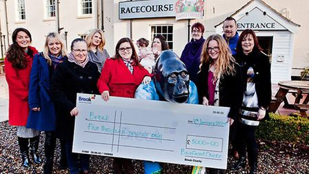 The Barefaced Chicks with the cheque for Break