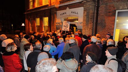 Large group of people outside Lowestoft town hall ahead of a Waveney District council development co