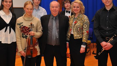 Norfolk Young Musician Competition 2014 winners with John Anderson adjudicator for the competition.