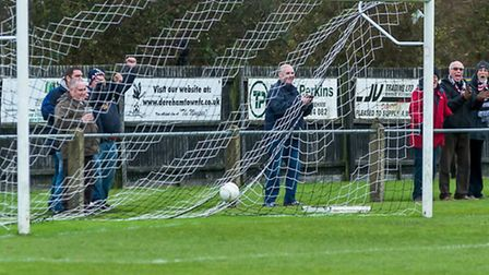 Action from Dereham Town's 10-1 win over Waltham Forest - maybe more fans will flock to Aldiss Park