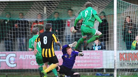 Action from the Norfolk senior Cup quarter final match between Gorleston and Yarmouth.Nathan Stone s