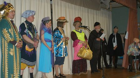 FONDS panto cast at Hingham's Lincoln Hall performing Aladdin