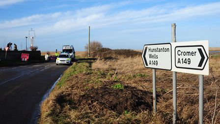 Police road block at Salthouse after the helicopter crashed on the marshes near Cley.PHOTO BY SIMON