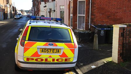Police cordon off an alleyway on Queens Place / Albion Road in Great Yarmouth after a man suffered s