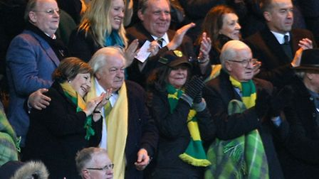 Norwich City's joint majority shareholders Delia Smith and Michael Wynn Jones celebrate a point at t
