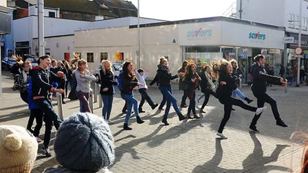 A flash mob in Lowestoft Town Centre by Ormiston Denes Academy pupils who are currently rehearsing f