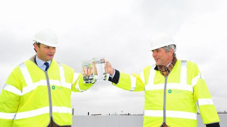Official topping out ceremony of the new Essex and Suffolk water customer centre in Lowestoft.Local