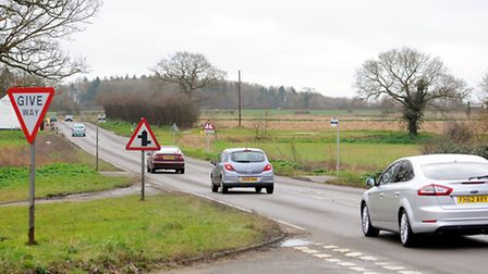 The area of the A146 at Stockton close to Raveningham Road where a fatal collision occured on Saturd