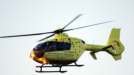 The East Anglian Air Ambulance leaving the scene of a serious road traffic accident on Ormesby Road