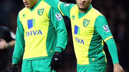Norwich City duo Nathan Redmond and Martin Olsson both joined the club last summer. Picture by Paul